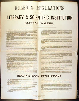 Rules and Regulations of the Saffron Walden Literary and Scientific Institute